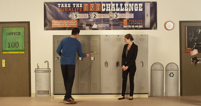 John Nittolo, Superintendent of the Green Township NJ, School District takes a hammer to Duralife Lockers to see how they compare to metal.  The result--Duralife was not damaged, whereas the metal locker was severly dented.