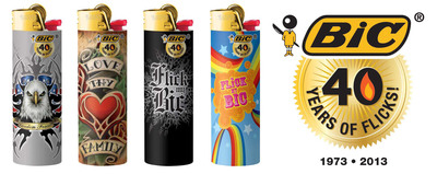 "THE WORLD HAS ""FLICKED ITS BIC"" FOR 40 YEARS! More than 30 Billion Iconic BIC Lighters Sold Worldwide Since 1973 -- ""Keep on Flicking!"" BIC, a world-leading manufacturer of stationery products, lighters and shavers, is celebrating its iconic BIC(R) Lighter's 40th birthday.  (PRNewsFoto/BIC)"