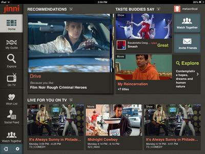 "Jinni's ""My TV & Movie Guide"" iPad App Powered by TMS' On Entertainment Data. (PRNewsFoto/TMS) (PRNewsFoto/TMS)"
