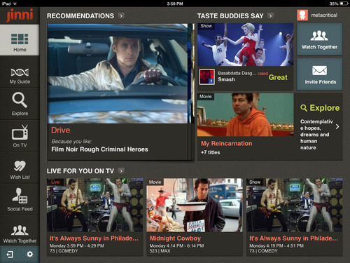 "Jinni's ""My TV & Movie Guide"" iPad App Powered by TMS' On Entertainment Data. (PRNewsFoto/TMS) (PRNewsFoto/TMS)"