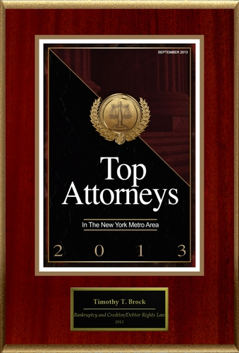 Attorney Timothy T. Brock Selected for List of Top Rated Lawyers in NY. (PRNewsFoto/American Registry)