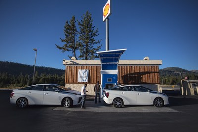 First Element Fuel's Chief Operations Officer Dr. Tim Brown, Chief Development Officer Dr. Shane Stephens and Chief Eexecutive Officer Joel Ewanick stop at the True Zero hydrogen-charging station in Truckee, Calif. to fill up their Toyota Mirai fuel-cell cars during their 24-hour record journey of 1,438-miles.