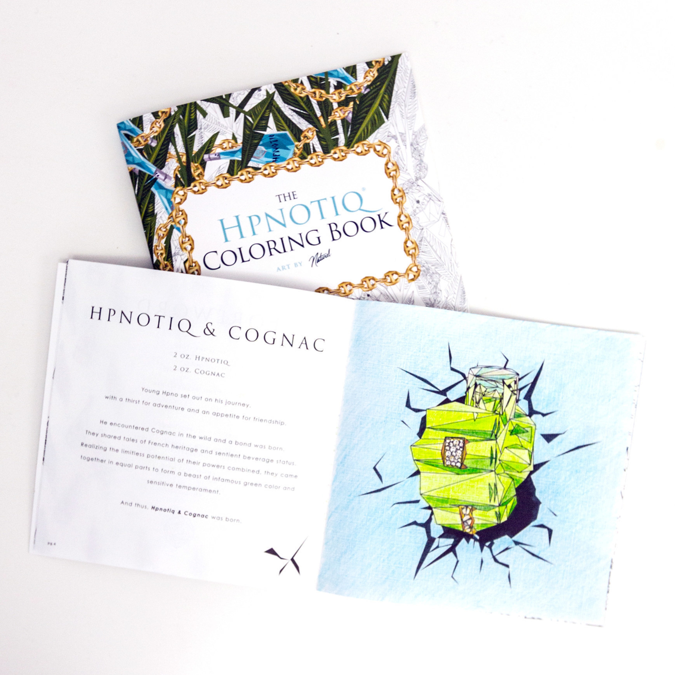 As part of the brand's winter campaign, Hpnotiq partnered with artist Naturel to create a custom adult coloring book, which doubles as a cocktail recipe guide, for influencers, press and fans on social media.