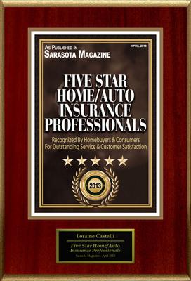 "Loraine Castelli Selected For ""Five Star Home/Auto Insurance Professionals"".  (PRNewsFoto/American Registry)"
