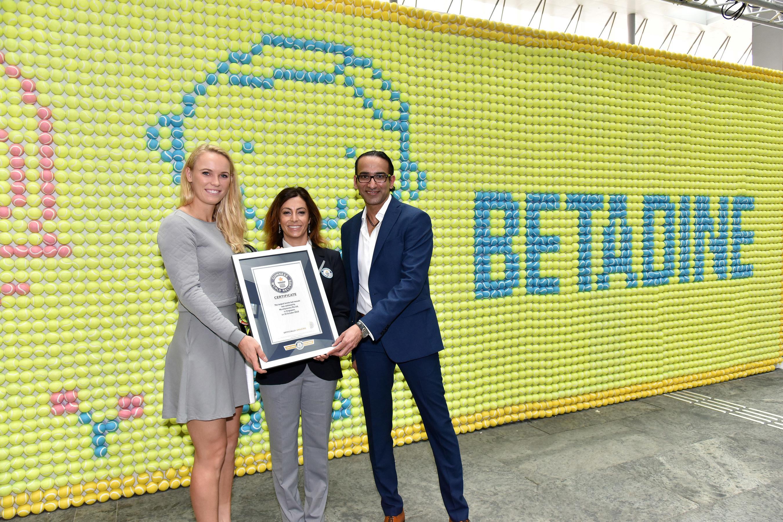 Left to right: International Tennis Star Caroline Wozniacki, GUINNESS WORLD RECORDS(TM) Adjudicator Lucia ...
