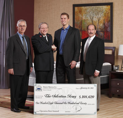 Denver Mattress Company Donates over $108,000 to The Salvation Army for Operation Rest Assured.  (PRNewsFoto/Denver Mattress Company, Michael Stillman)