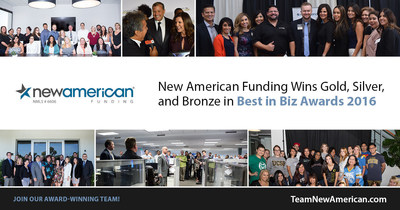 New American Funding Wins Gold, Silver, and Bronze in Best in Biz Awards 2016.