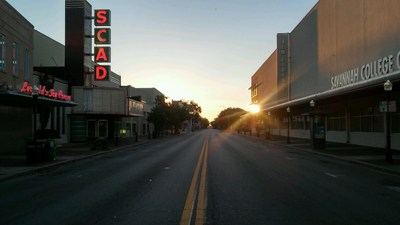 As the sun rises, historic landmarks are still standing after Hurricane Matthew strikes Savannah, GA.