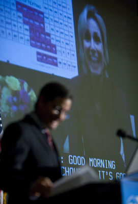 FCC Chairman participates in Skype session with Jane Lynch, LG Text Ed.  (PRNewsFoto/LG Mobile Phones, Kristoffer Tripplaar)