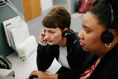 Duke Energy President and CEO Lynn Good was at the company's Customer Care and Storm Response centers in Raleigh Monday as company representatives interacted with customers.