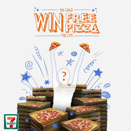7-Eleven smartphone app offers pizza for life in contest through May 16. (PRNewsFoto/7-Eleven, Inc.)