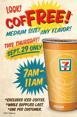 Participating 7-Eleven stores in the U.S. and Canada will offer a free medium-size cup of coffee this Thursday from 7 am to 11 am tocelebrate National Coffee Day, Sept. 29, and engage consumers and fans in its Dip-A-Drip game the day before.  (PRNewsFoto/7-Eleven, Inc.)