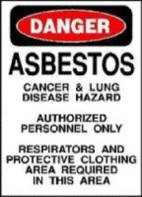 Asbestos Warning Sign (PRNewsFoto/Mesothelioma Compensation Center)