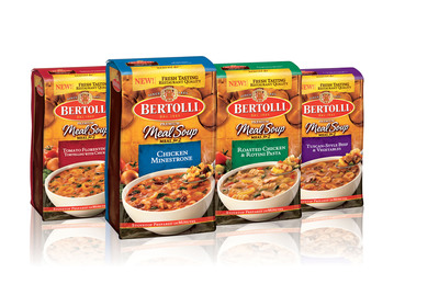 Bertolli(R) launches its latest restaurant-inspired product offering - New Bertolli(R) Premium Meal Soups for Two. The new line of hearty, fresh-tasting meal soups are available in the frozen aisle of grocery retailers nationwide in four varieties reminiscent of flavors created by Italian Chefs: Chicken Minestrone, Roasted Chicken & Rotini Pasta, Tomato Florentine & Tortellini with Chicken and Tuscan-Style Beef with Vegetables.  (PRNewsFoto/Unilever North America)