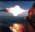 A Tomahawk cruise missile hits a moving maritime target Jan. 27 after being launched from USS Kidd (DDG 100) near San Nicolas Island in California. (U.S. Navy photo)