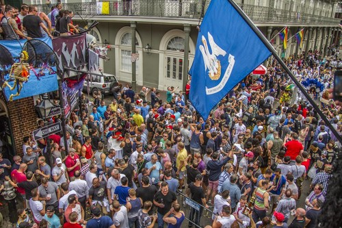 Halloween New Orleans revelers participate in a traditional second line celebration down historic Bourbon ...