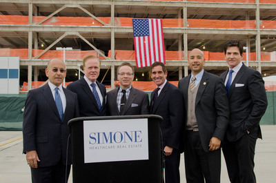 Pictured (L to R) at the topping off ceremony for Tower Two at the Hutchinson Metro Center in the Bronx are: Dr. Steven Safyer, President and CEO, Montefiore Medical Center; Joseph Kelleher, President, Hutch Management LLC; City Councilman James Vacca; State Senator Jeff Klein; Bronx Borough President Ruben Diaz, Jr.; and Joseph Simone, President, Simone Development Companies. Photo by Robert Benimoff/Simone Development.  (PRNewsFoto/Simone Development Companies)