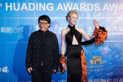 Jackie Chan (left) and Nicole Kidman (right) were among the 80 international celebrities present at the Huading Awards, which was hosted at The Venetian Macao for the first time Oct. 7. The awards show is a recent example of Sands China Ltd.'s entertainment strategy in action, with high-profile celebrity events helping raise Macao's global profile as a top entertainment destination.  (PRNewsFoto/Sands China Ltd.)