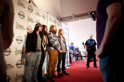 The Sheepdogs (L-R) Leot Hanson, Ryan Gullen, Ewan Currie and Sam Corbett celebrate the premiere of Beware Of The Dogs at the Nashville Film Festival.