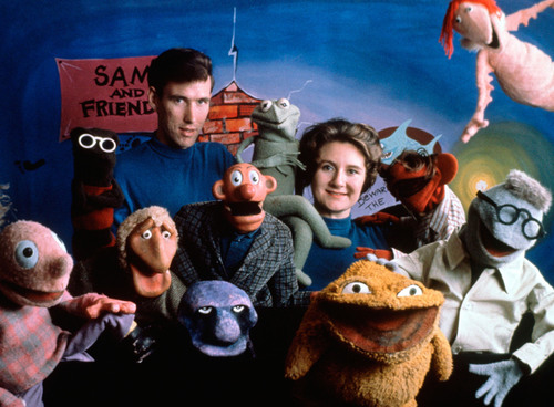 Jane Henson with Jim Henson and the cast of Sam and Friends, Washington, DC, c. 1960. Photo by Del Ankers. (c) ...