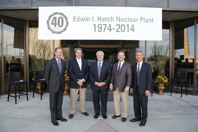 Pictured left to right: Paul Bowers (Georgia Power chairman, president & CEO), Tony Spring (Plant Hatch site manager), David Vineyard (vice president nuclear site), Danny Bost (executive vice president and chief nuclear officer) and Steve Kuczynski (Southern Nuclear Operating Company chairman, president & CEO).