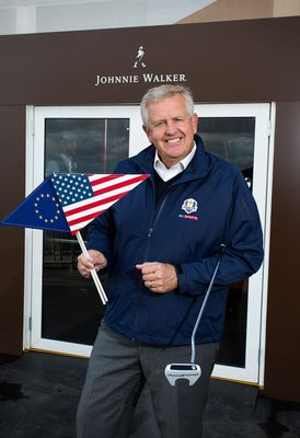 Colin Montgomerie prepares to take part in the JOHNNIE WALKER Ryder Cup media event at the JOHNNIE WALKER EXPERIENCE (PRNewsFoto/JOHNNIE WALKER)