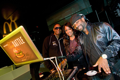 "Doug E. Fresh, iconic rapper and ""Human Beat Boxer,"" joins veteran DJs Spinderella and DJ Irie at the McDonald's 2012 Flavor Battle in Miami Beach. Flavor Battle started with 24 DJs from across the U.S. and held the final round of the national DJ competition in Miami Beach.  (PRNewsFoto/McDonald's)"