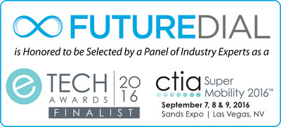 """FutureDial's Lean One-Touch(TM) solution has been selected as a finalist in the Everything Industrial & Enterprise category for """"Best in Mobility Management Solutions"""" in the 2016 CTIA eTECH Awards program by a panel of recognized industry experts, media and analysts, who judged hundreds of submissions. Winners will be announced and awarded in a ceremony on the Connected Life and Startup Stage (booth #3715) during CTIA Super Mobility 2016 in Las Vegas on Sept. 8th, 2016 at 2:00pm. FutureDial is excited and honored that its Lean One-Touch product has been recognized by experts as being among the best in the industry."""