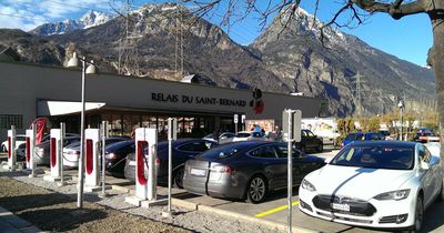 Martigny is now supercharged! The new Tesla Supercharger was officially opened today. (PRNewsFoto/Tesla Motors Inc)