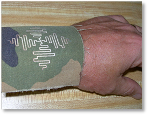Wrist Antenna: Printing Electronics on Clothing Allows for Lighter, more Ubiquitous Communications Capabilities. Courtesy, US Army  (PRNewsFoto/FlexTech Alliance)