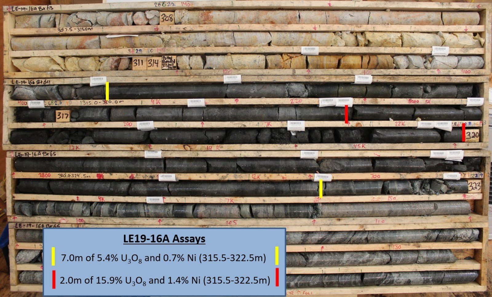 Figure 4 –LE19-16A Core Photo Annotated with Assay Results