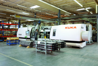 North American manufacturers embracing friction welding: High-tech friction welding machines like the KUKA RS300 join similar or different metals to manufacture strong, lighter weight components needed by automotive and other manufacturers today. Contact between both metal parts, one stationary and one rotating, heats the surface so they can be fused together under pressure.  (PRNewsFoto/KUKA Systems Corporation North America)