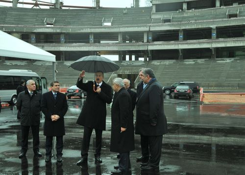 The President of Azerbaijan inspects progress at the Olympic venue site in Baku for the First European Games, ...