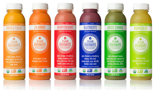 Suja Elements(TM) is a new line of high-quality, functional fresh smoothies that can be enjoyed anytime, anywhere. Six Suja Elements flavors are now available exclusively in Whole Food Markets in the U.S. Using cold-pressed organic juice as a base, Suja Elements incorporates blended fruits and some of the world's best superfoods like camu camu, bao bab, and chia. For every bottle of Suja Elements sold, 20 cents will be donated to a non-profit organization. (PRNewsFoto/Suja Co.)