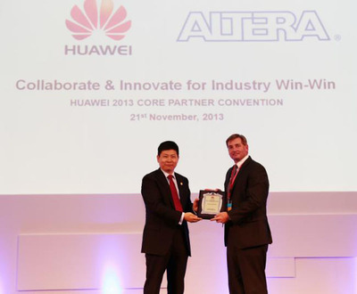 Mr. Chengdu Yu, CEO of Huawei Consumer Business Group Awards Mark Nelson, Altera VP of Worldwide Sales, the Excellent Core Partner Award. (PRNewsFoto/Altera Corporation)
