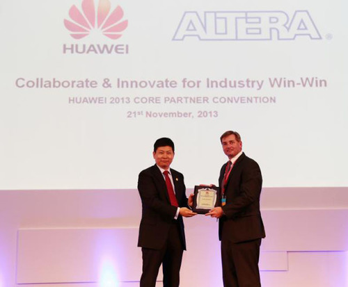 Mr. Chengdu Yu, CEO of Huawei Consumer Business Group Awards Mark Nelson, Altera VP of Worldwide Sales, the ...