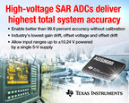 Texas Instruments (TI) today expanded its successive approximation register (SAR) analog-to-digital converter (ADC) portfolio with the first devices in a new high-voltage family. The eight-channel ADS8688 and four-channel ADS8684 simplify power requirements. (PRNewsFoto/Texas Instruments)