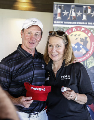 Al Cissel, Executive Managing Director of ARA Newmark, a major sponsor of the Aimco Cares Charity Golf Classic, meets with Bonnie Carroll, founder and president of the Tragedy Assistance Program for Survivors, one of the beneficiaries of the annual fundraiser.