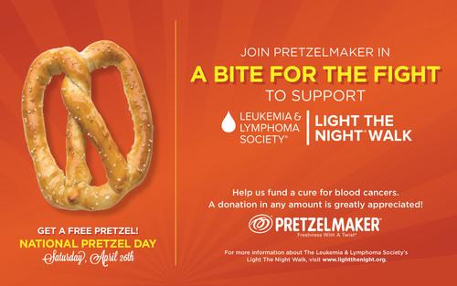 Free Pretzels at Pretzelmaker on National Pretzel Day (April 26).  (PRNewsFoto/Pretzelmaker)