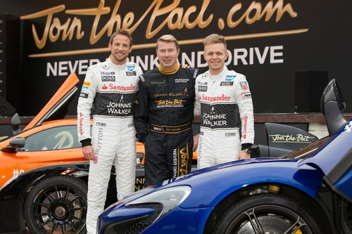 Former Formula 1 driver and JOHNNIE WALKER Global Responsible Drinking Ambassador, Mika Hakkinen, Formula 1 drivers Jenson Button and Kevin Magnussen are pictured at the launch of the JOHNNIE WALKER responsible drinking campaign which will run in Edinburgh and in over 60 other cities across the globe (PRNewsFoto/Johnnie Walker)
