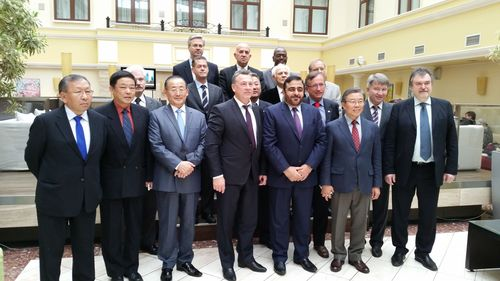 Dr. Mansoor Al Awar, Chancellor of the Hamdan Bin Mohammed Smart University (HBMSU) and Chairman of UNESCO IITE Governing Board with HE Veniamin Kaganov, Deputy Minister of Education and Sciences of the Russian Federation, and Prof. Qian Tang, UNESCO's Assistant Director-General for Education, and 11 of IITE board members. (PRNewsFoto/HBMSU)