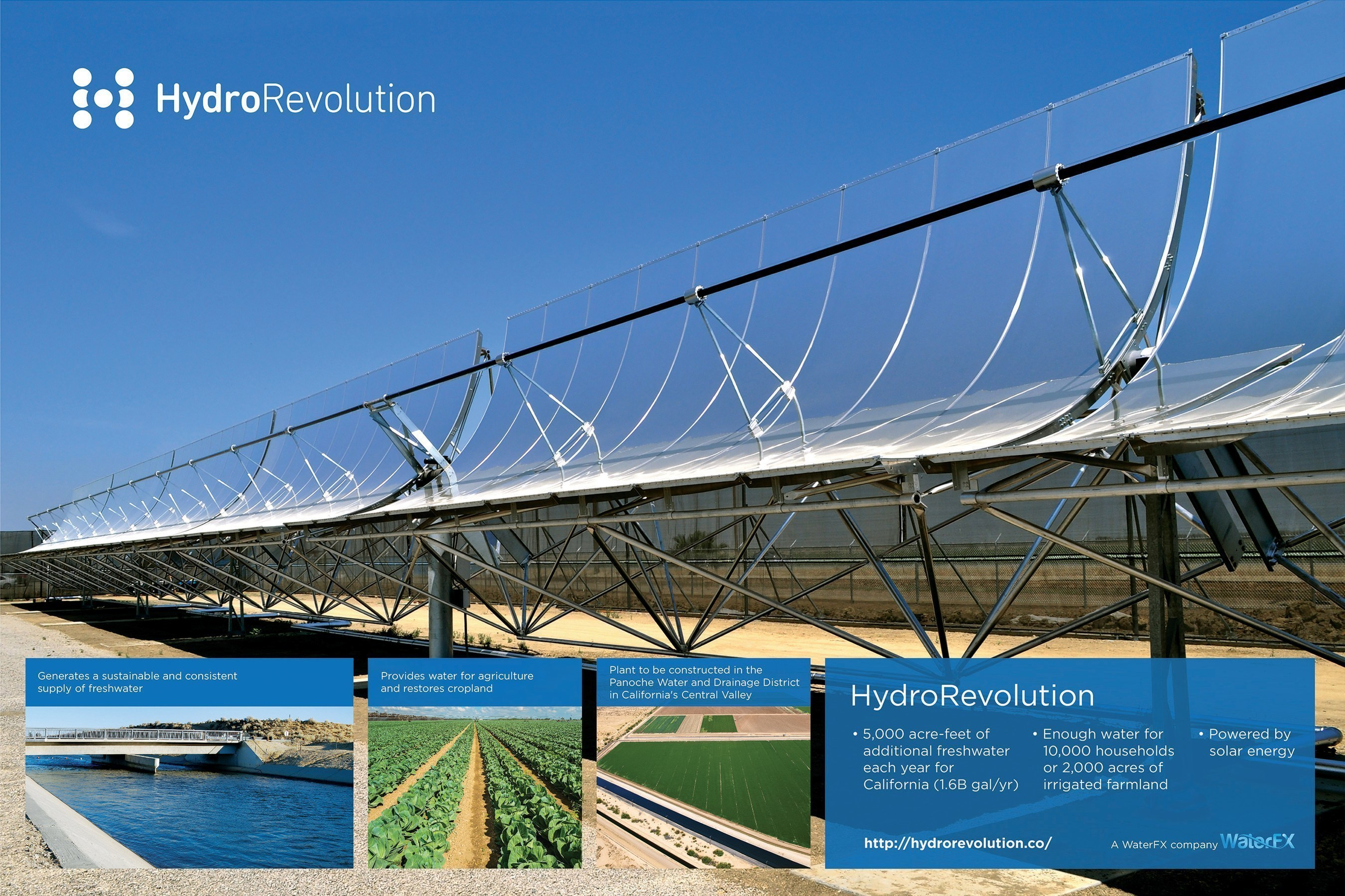 The new commercial solar desalination plant will be constructed in the Panoche Water and Drainage District in California's Central Valley.