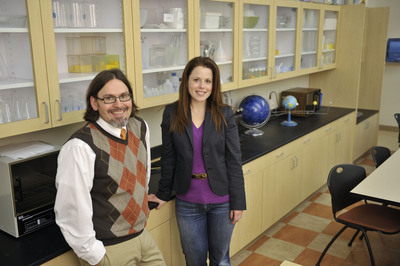 Drs. Oliver Dreon and Nanette Marcu-Dietrich in student teaching science lab at MU.  (PRNewsFoto/Millersville University, Eric Forberger)