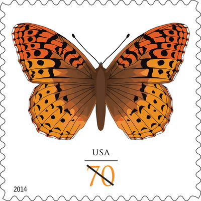 The beautiful Great Spangled Fritillary Butterfly gets its stamp of approval and takes flight on postage today from the nation's Post Offices as a 70-cent stamp. Customers may purchase the stamps at usps.com/stamps, 800-STAMP24 (800-782-6724) and at Post Offices. The great spangled fritillary (Speyeria cybele) is named for the silvery spots found on the undersides of its wings. A large butterfly with a wingspan of 2.25 to 4 inches, it is found in all northern states and ranges as far south as northern Georgia in the east and central California in the west.  (PRNewsFoto/U.S. Postal Service)