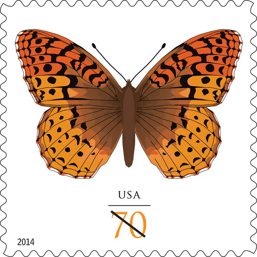 The beautiful Great Spangled Fritillary Butterfly gets its stamp of approval and takes flight on postage today from the nation's Post Offices as a 70-cent stamp. Customers may purchase the stamps at usps.com/stamps, 800-STAMP24 (800-782-6724) and at Post Offices. The great spangled fritillary (Speyeria cybele) is named for the silvery spots found on the undersides of its wings. A large butterfly with a wingspan of 2.25 to 4 inches, it is found in all northern states and ranges as far south as northern Georgia in the east and central ...