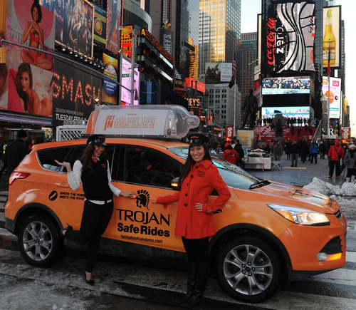 The rubber literally hits the road as Trojan Brand Condoms deploy a fleet of Trojan Safe Ride taxis to drive home the facts about condoms on February 14th and 15th. (PRNewsFoto/TROJAN(TM) Brand Condoms) (PRNewsFoto/TROJAN(TM) BRAND CONDOMS)
