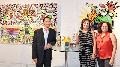 Critically acclaimed actor and director, Clifton Collins Jr., National Association of Latino Arts and Cultures (NALAC) executive director, Maria Lopez de Leon and board member Rosalba Roldan attended the launch of the Jose Cuervo Tradicional Mural Project, which inspires artists and communities to look to the future and share their hopes and dreams for their community.  (PRNewsFoto/Jose Cuervo)