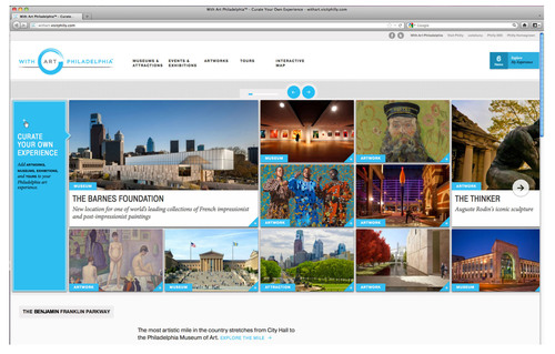 Launching today, visitphilly.com/withart shows off the city's vast and varied arts scene through vibrant photography, renowned artworks and strong interactive elements.  (PRNewsFoto/Greater Philadelphia Tourism Marketing Corporation)