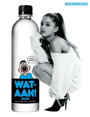 WAT-AAH!, one of the fastest-growing brands of functional bottled water, announced a marketing and long-term equity partnership with pop superstar Ariana Grande on Wednesday, October 1, 2014 in New York City. In her first endorsement deal, the multiplatinum recording artist will join WAT-AAH! as an equity holder and partner. (PRNewsFoto/WAT-AAH!)