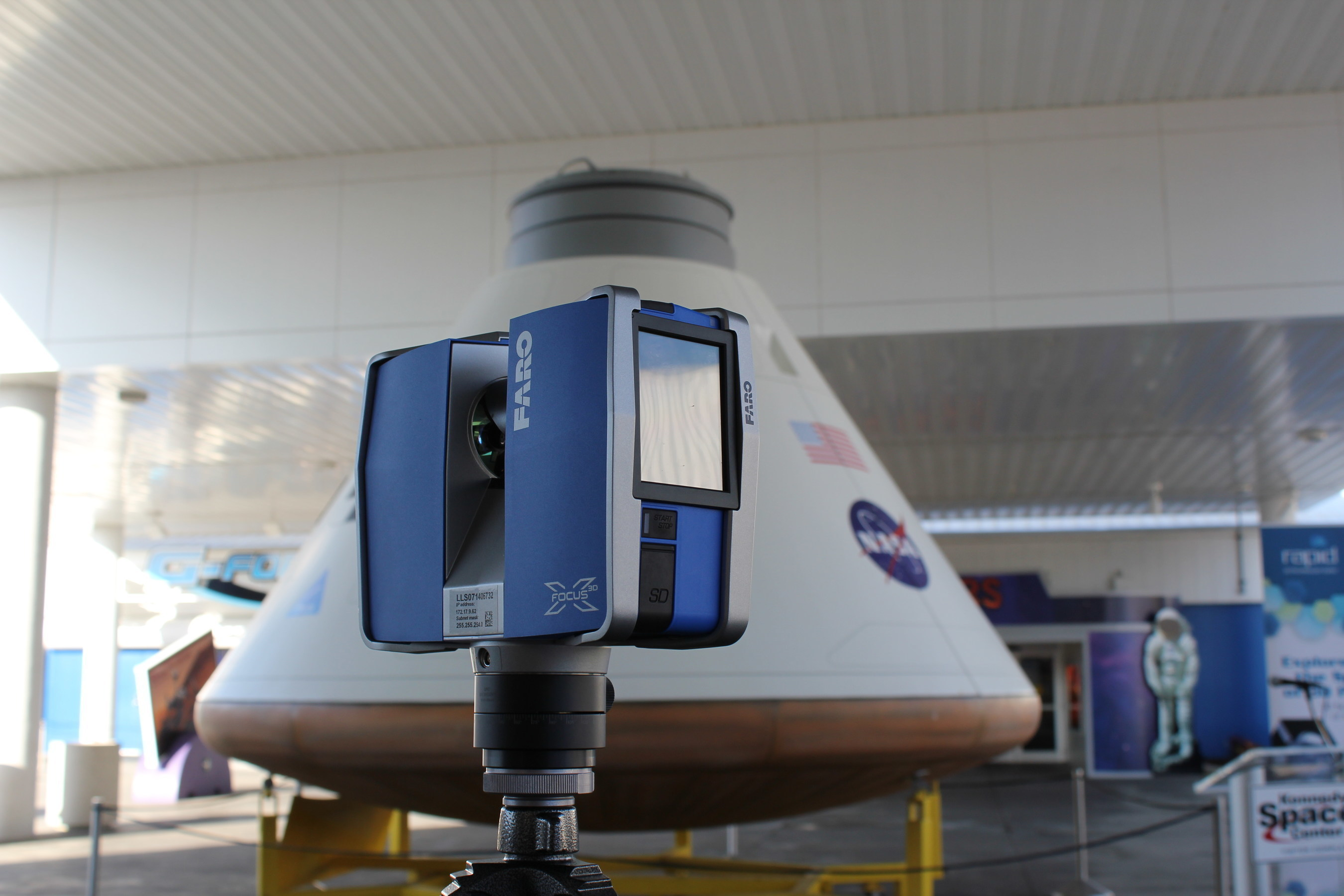 FARO Focus 3D X330 Scanner positioned to 3D laser scan the Orion exterior capsule model.